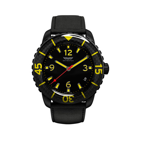 3-Hand // Black, Carbon Fiber, & Yellow with Two Straps