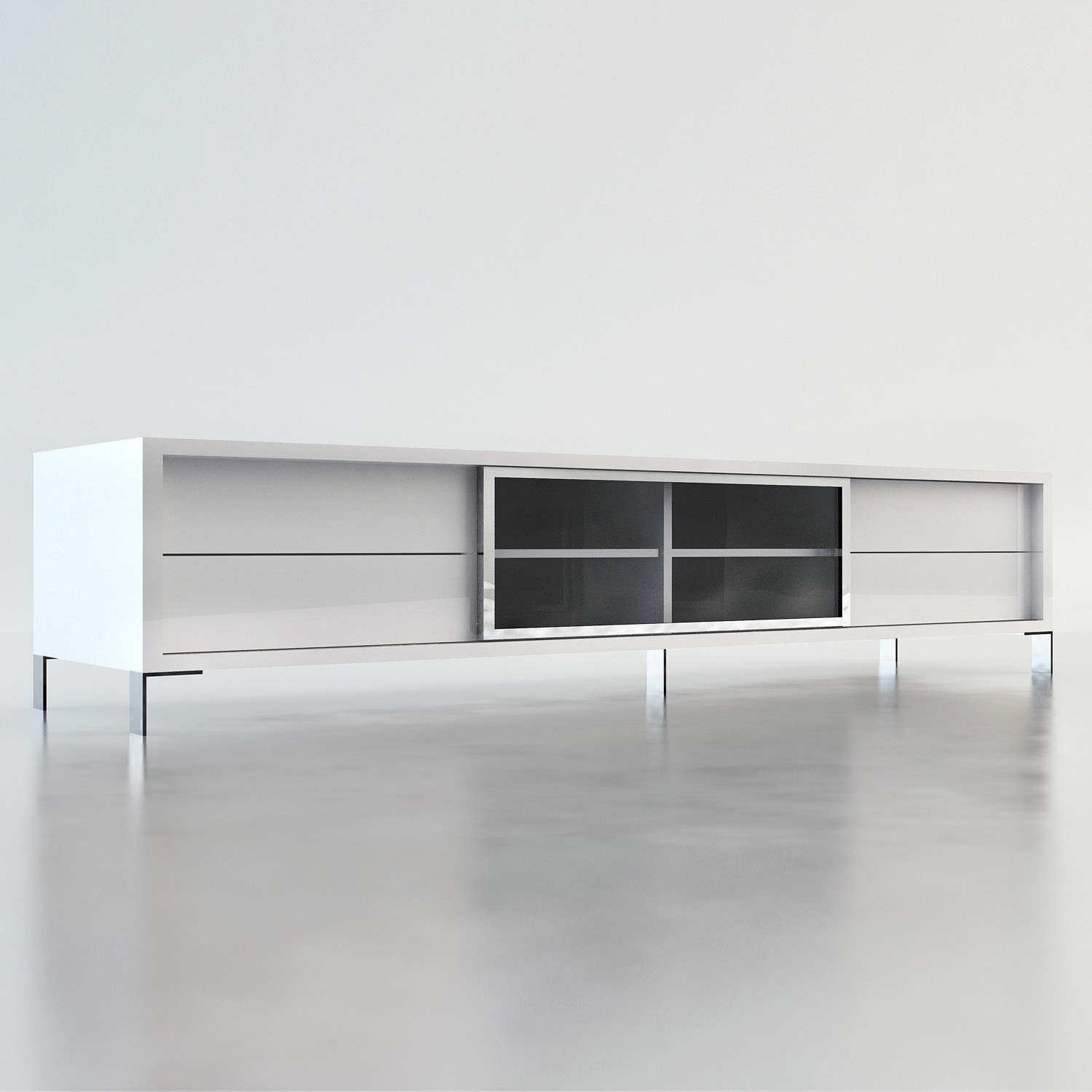 Lexington Tv Stand White Lacquer Modloft Living