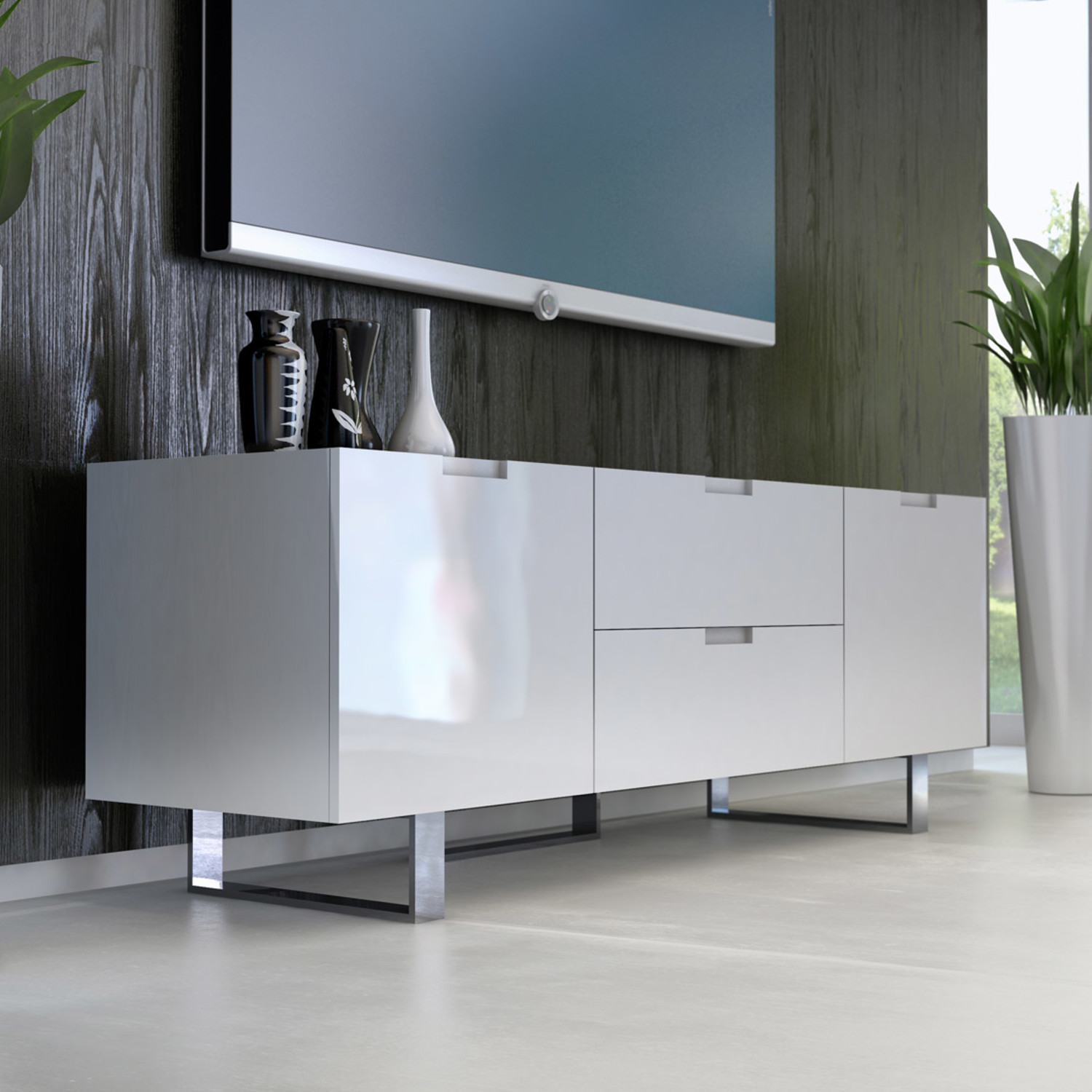 Eldridge Media Cabinet White Lacquer