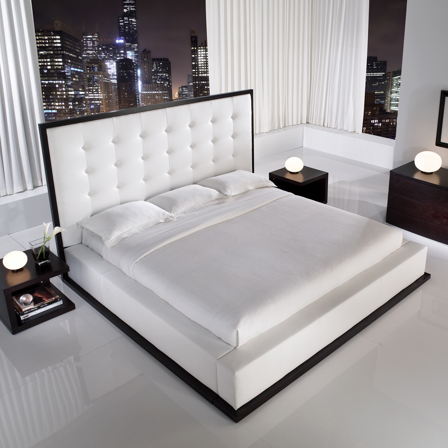 ludlow bed in wenge  white leather (queen)  modloft bedroom  - ludlow bed in wenge  white leather (queen)