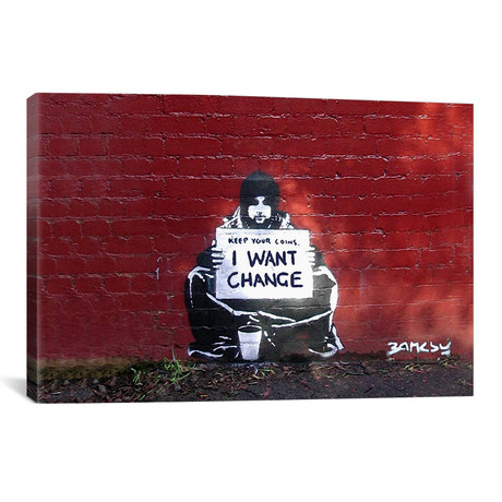 "Keep Your Coins. I Want Change By Meek (26""W x 40""H x 0.75""D)"
