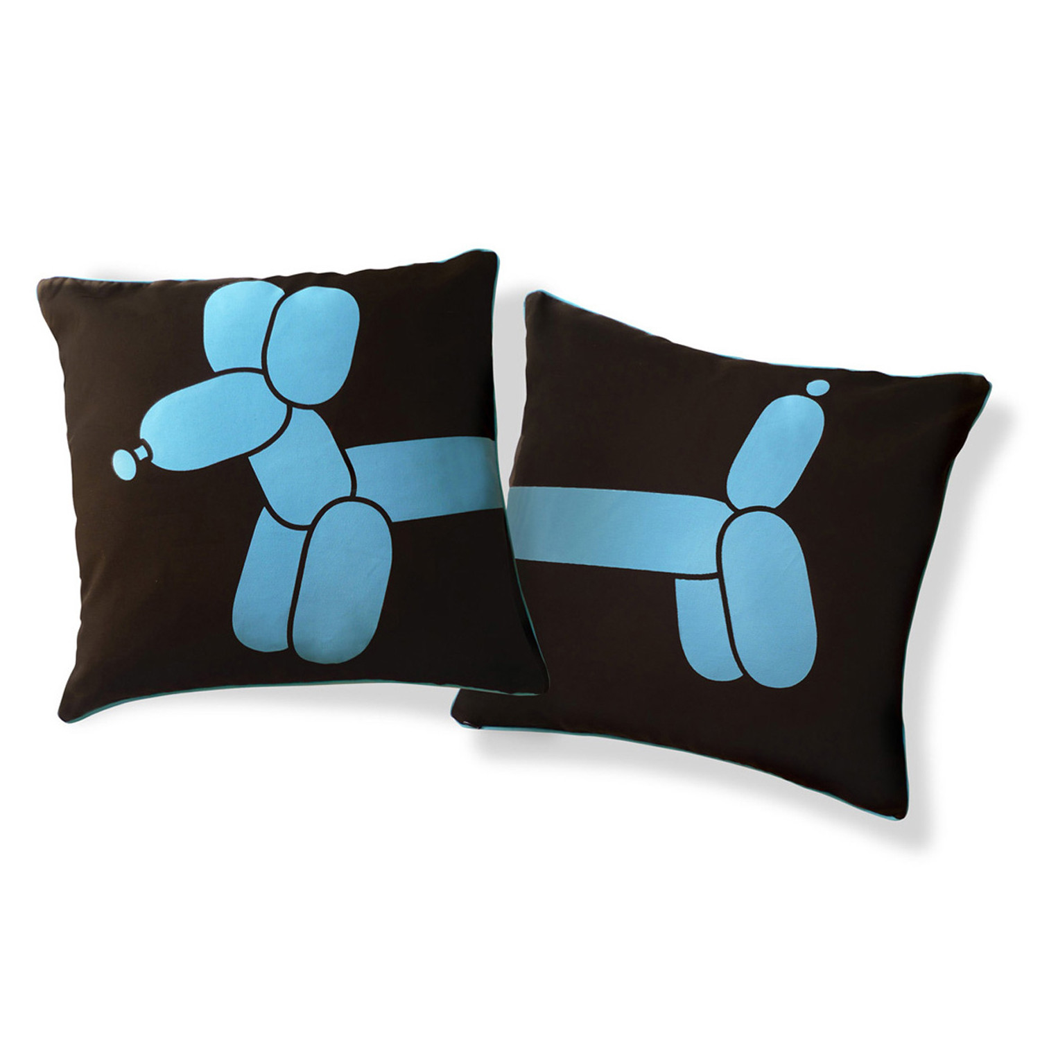 Small Brown Decorative Pillows : Little Balloon Dog Pillow Blue & Brown - Naked Decor - Touch of Modern