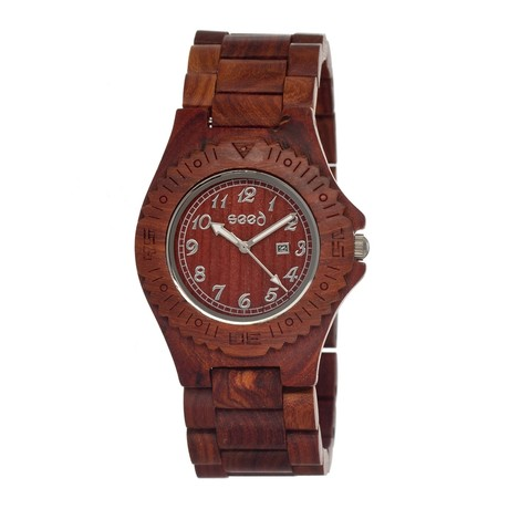 Mens & Ladies Brown Phloem Wood Watch
