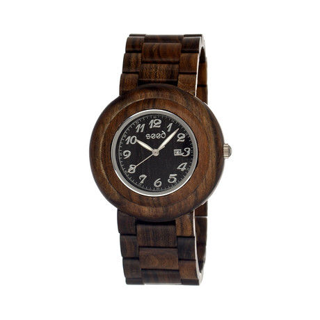 Mens & Ladies Dark Brown Cambium Wood Watch