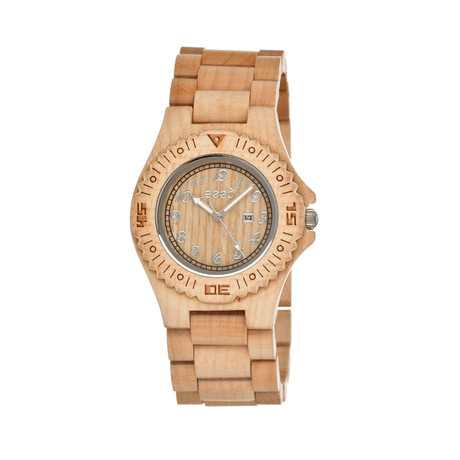Mens & Ladies Khaki/Tan Phloem Wood Watch