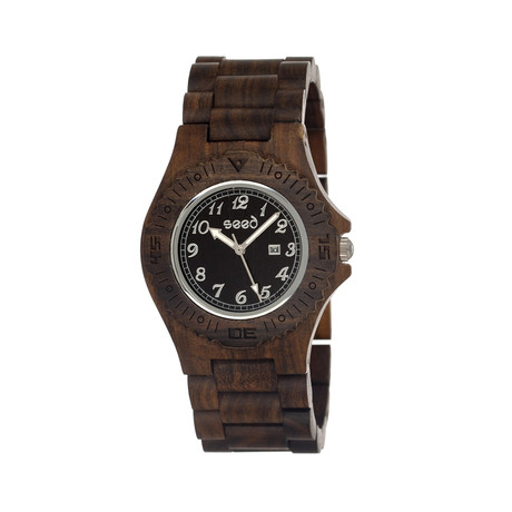 Mens & Ladies Dark Brown Phloem Wood Watch