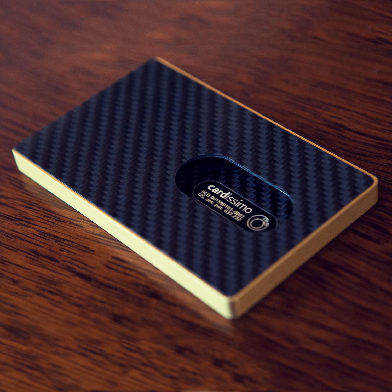 Carbon fibre card case gold cardissimo touch of modern carbon fibre card case gold colourmoves