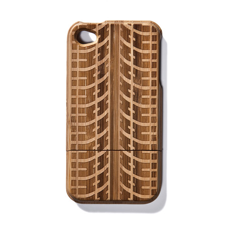 Tire Tracks Bamboo iPhone 4 Case