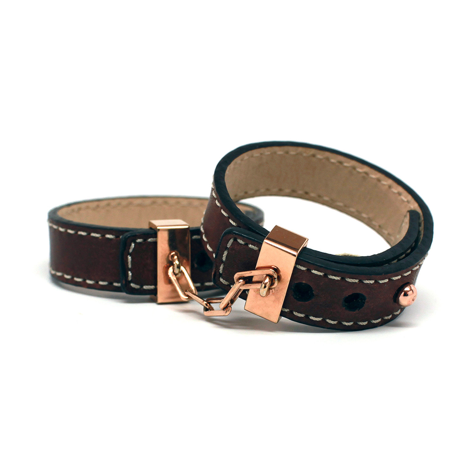 leather handcuffs rose gold brown incoqnito touch