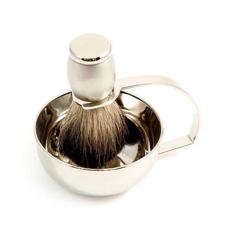 Soap Dish w/ Badger Brush
