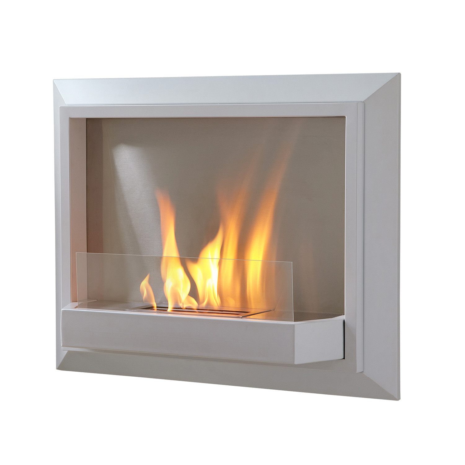 Envision wall fireplace white real flame touch of for Ventless fireplace modern