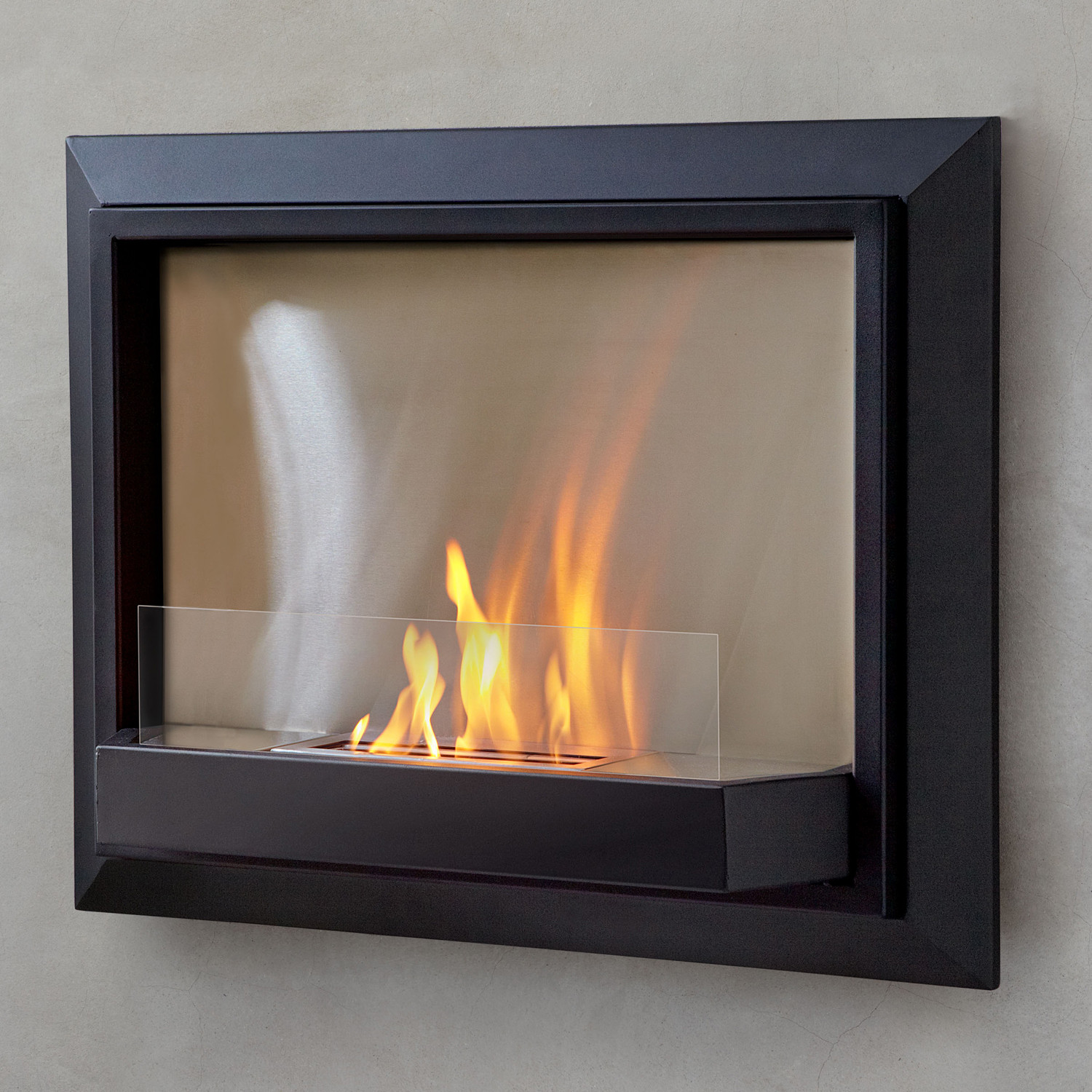 Envision wall fireplace black real flame touch of for Ventless fireplace modern