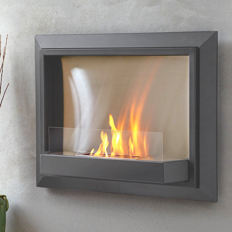 Envision Wall Fireplace Grey Real Flame Touch Of Modern