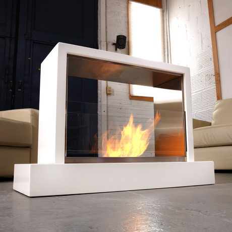 Insight indoor fireplace white real flame touch of for Indoor outdoor fireplace