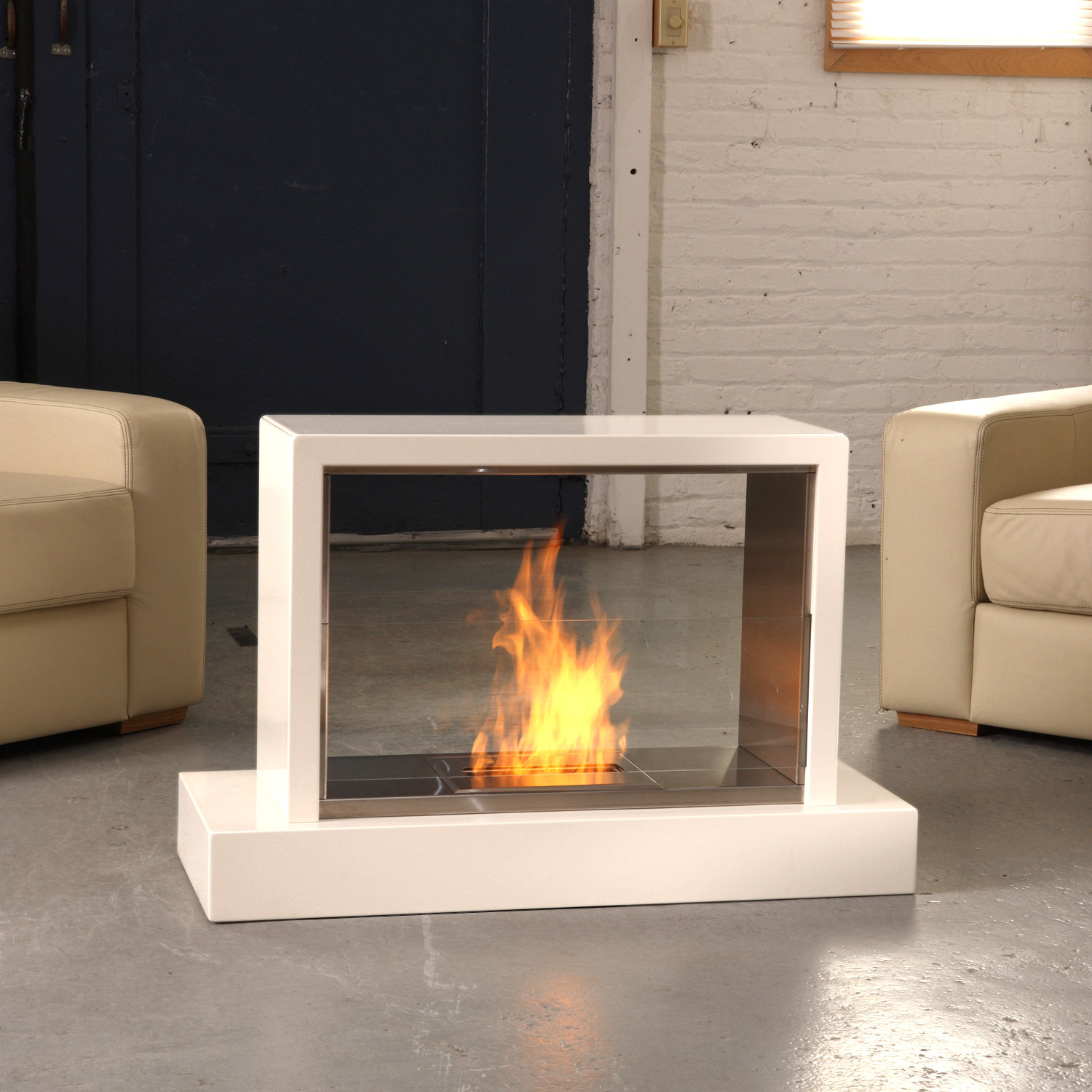 Insight indoor/outdoor fireplace is composed of clean lines which bring contemporary styling to nearly any indoor or outdoor space. Visible from both sides