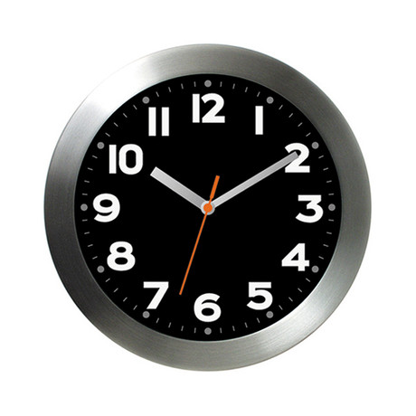 Brushed Aluminum Wall Clock // Black