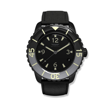 Skywatch 44mm 3-Hand Quartz Watch // Black + Grey