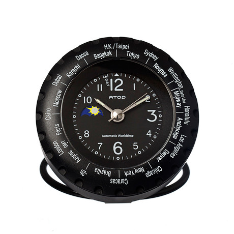 Atop world time alarm clock black atop clocks touch for Touch of modern clock