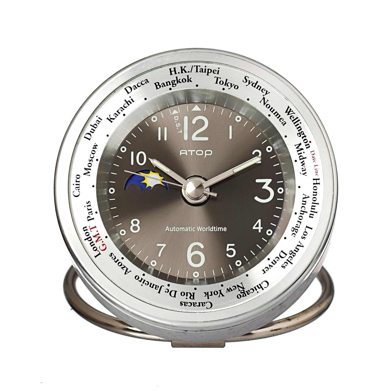 atop world time alarm clock silver black atop clocks touch