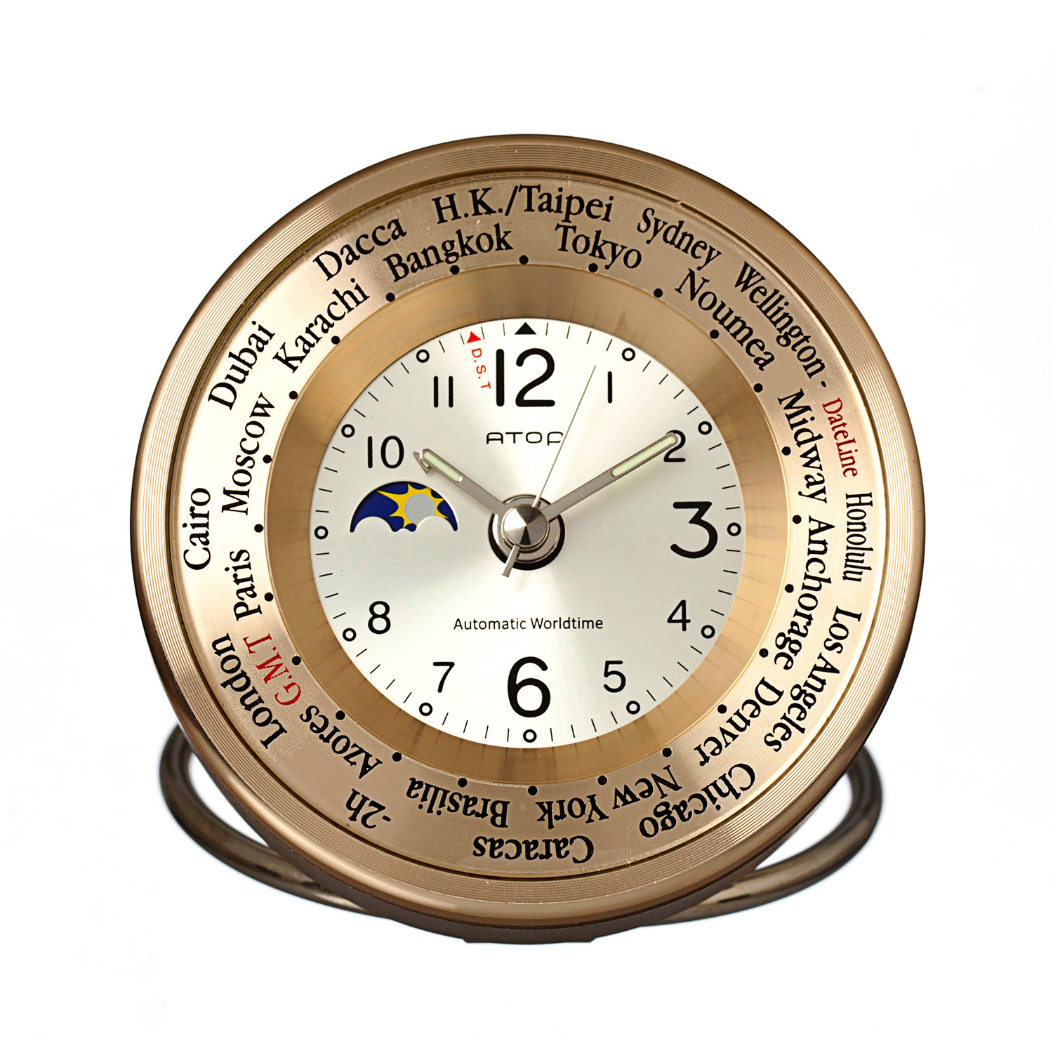 atop world time alarm clock gold silver atop clocks touch