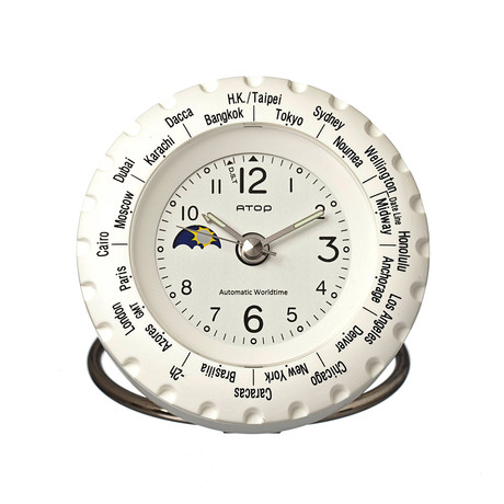 Atop world time alarm clock white atop clocks touch for Touch of modern clock