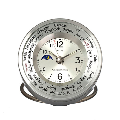 Atop world time alarm clock silver atop clocks for Touch of modern clock