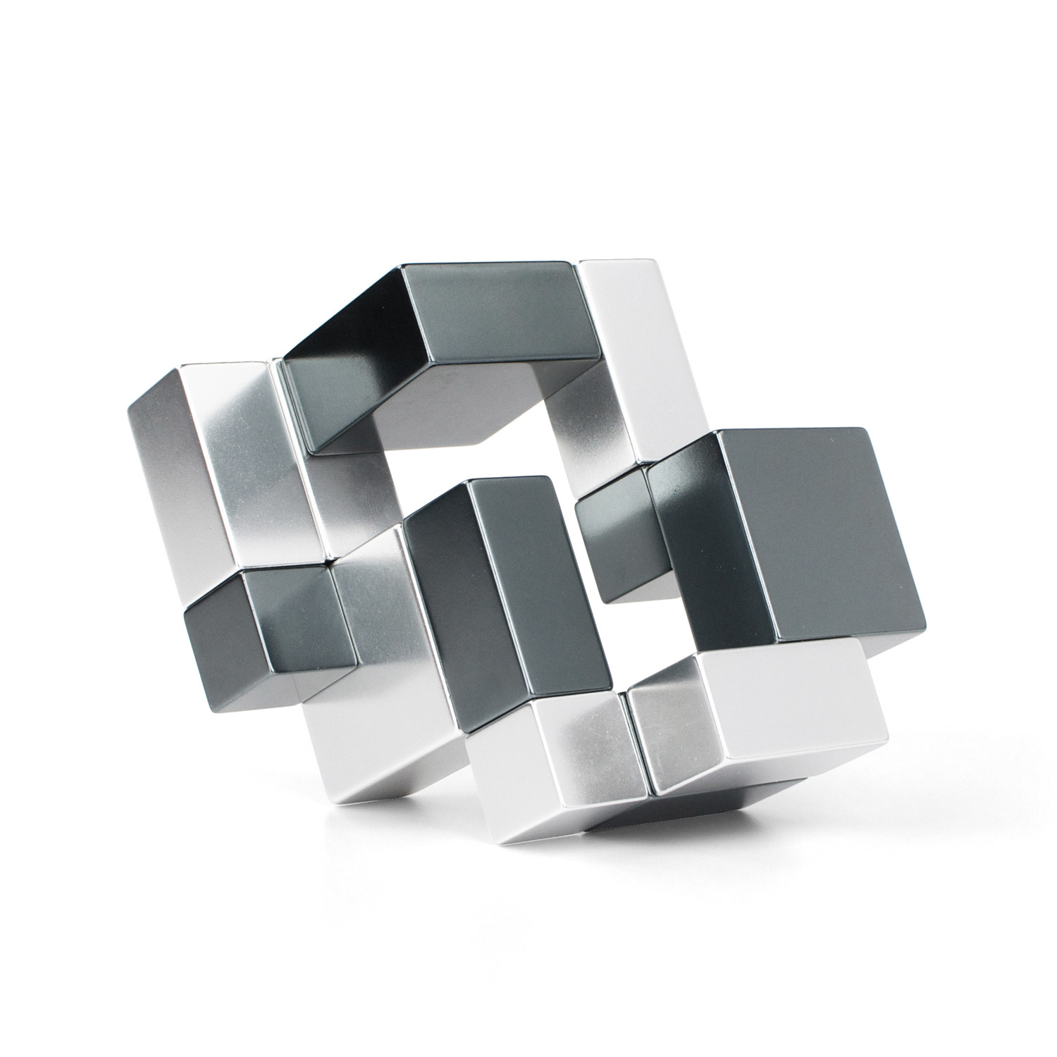 Playable art metal cube silver iron gray playableart touch of modern - Cube metal rangement ...