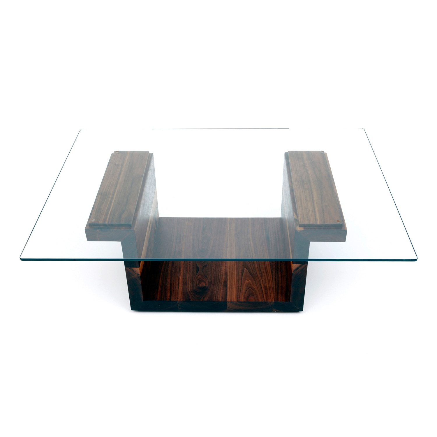 Sqg glass top table walnut large 42 l x 30 w top for Large glass table top