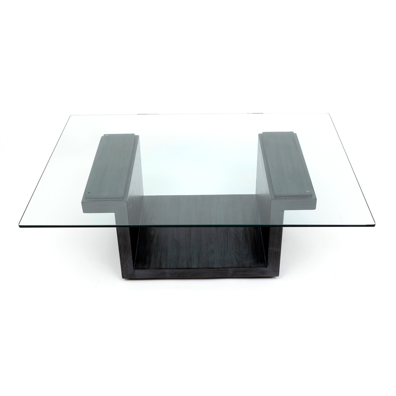 Rectangular Glass Center Table // Graphite Oak