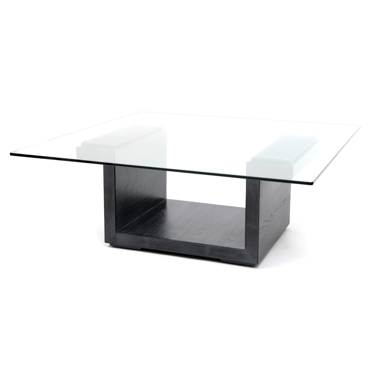 Rectangular Glass Center Table Graphite Oak Artless Touch