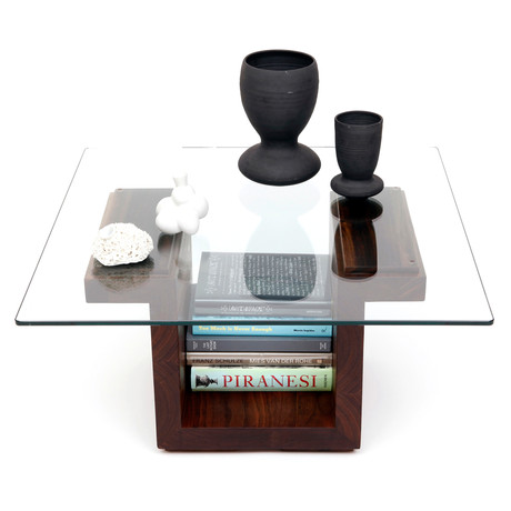 """SQG Glass Top Table // Walnut (Large: 42""""L x 30""""W Top)"""