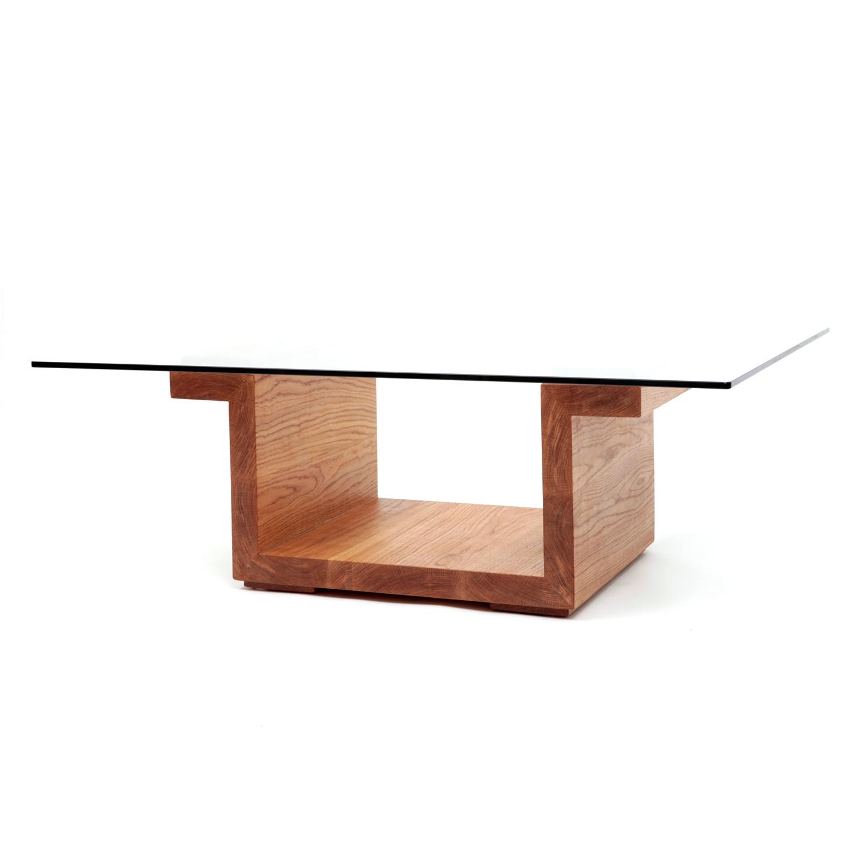 Rectangular Glass Center Table // White Oak