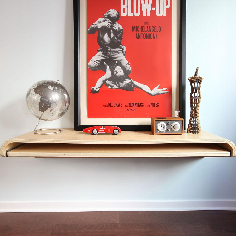 Minimal Float Desk Rift Oak Large Orange22 Design
