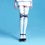 Caprice Bondage Over-the-Knee Socks (Off White, Black, Size: 5 - 7.5)