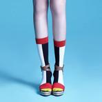 Estelle Mid-Calf Socks (Blue, Size: 5 - 7.5)