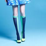 Kaori Knee-High Socks (Grey, Black, Size: 5 - 7.5)