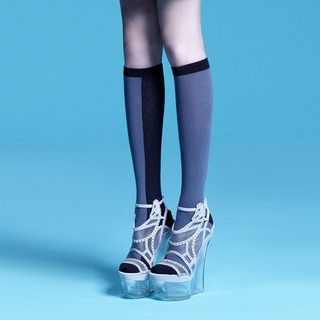 Kaori Knee-High Socks (Grey, Black, Size: 5 - 7.5)
