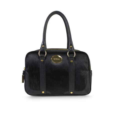 Isabella Double Compartment Satchel // Black