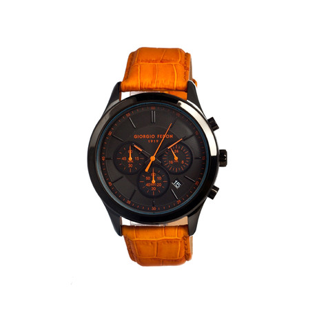 Vintage V Men's Watch // Black & Orange