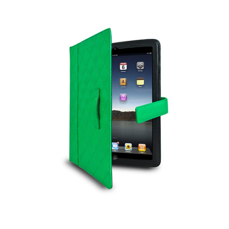 Quilted Tab Easel for iPad 2 & 3 // Electric Green