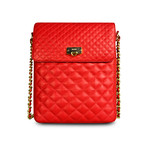Quilted Crossbody for iPad // Red Hot