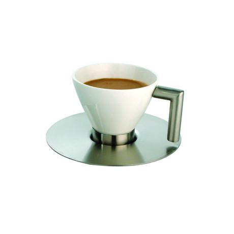 White Round Cup & Steel Saucer