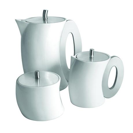 Curved Tea Set // Tea Pot, Milk Pot, Sugar Pot