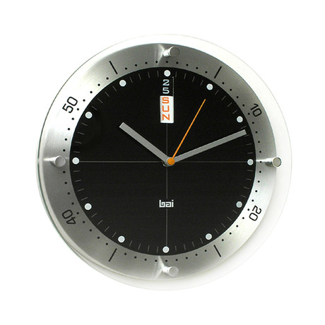 "Bai 12"" Timemaster Aluminum Wall Clock Day/Date // Black"