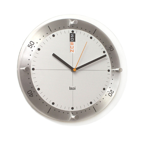 "Bai 12"" Timemaster Aluminum Wall Clock Day/Date // White"