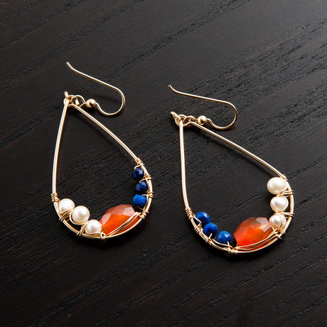 Mini Gravity Earring // Orange & Blue
