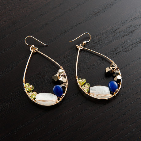 Gravity Earring // Green, Blue & Gold