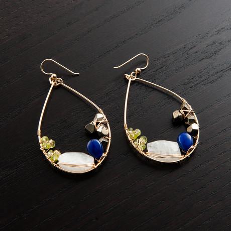 Gravity Earring // Green, Blue & Gold