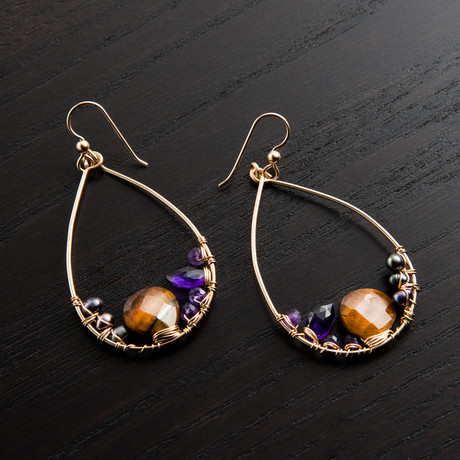 Mini Gravity Earring // Brown & Purple