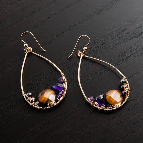 Mini Gravity Earring // Brown & Purple